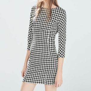 Zara Trafaluc Houndstooth White/Black Dress